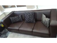 Brown Faux Leather Settee / Sofa-excellent con