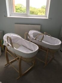 Claire de Lune Moses Baskets with Rocking Stands