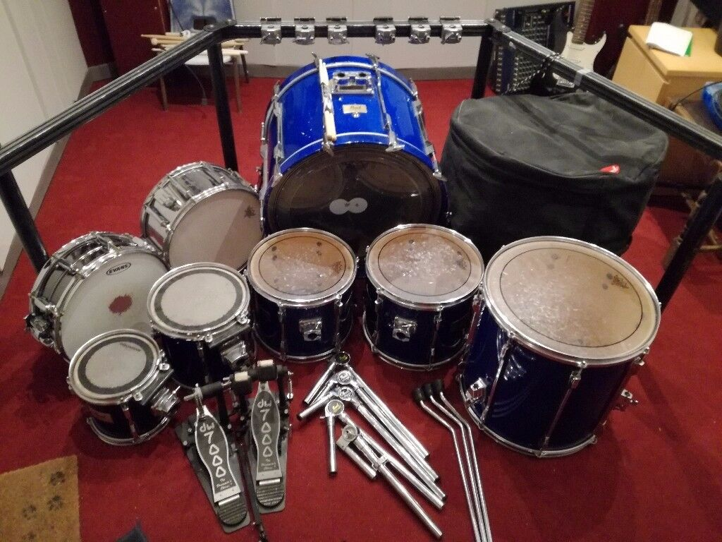 7 Piece Pearl Session Elite Drum Kit W Added Snare Rack Bass