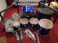 7-Piece Pearl Session Elite Drum Kit /w added snare, rack, bass drum pedals, soft cases, spare heads
