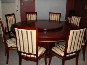 Round Dining Table (plus 8 chairs and lazy susan)