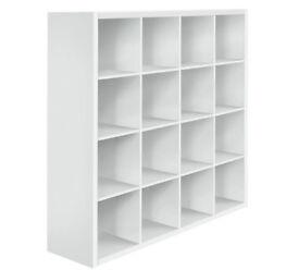 Hygena Squares Plus 16 Cube Storage Unit - White Gloss