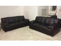 Brand NEW Contemporary Black Genuine Leather Large 2+3 Seater Sofa Suite Modern DELIVERY AVAILABLE