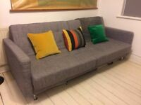 DOUBLE SOFA BED, modern, grey, fold down, looks great and very easy to use!
