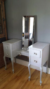 Antique vanity. Chalk painted. New knobs .mirror