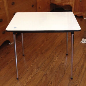 White Table With Metal Legs