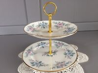 Mini 2 Tier Bone China 2 Tier Cake, Biscuit, Snack, Trinket Stand..