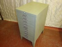 Vintage STOR 10 Drawer Metal Cabinet.
