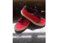 Boys size 2 red and black Vans