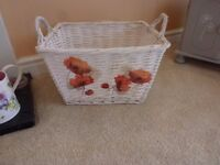 White Wicker Basket With decoupage feature