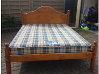 LOVELY PINE DOUBLE BED WITH QUALITY MATTRESS, DELIVERY POSSIBLE