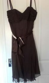 Ladies size 14 cream and brown dress with matching hat & bag