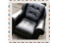 CAN DELIVER .LEATHER SOFA & TWO CHAIRS