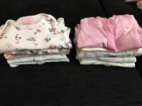 10 first size girls baby grows