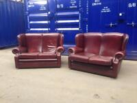 🔥IMMACULATE🔥 High back Wingback Queen Anne chesterfield 2 piece suite genuine oxblood leather
