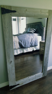 Large barn board bevelled mirror