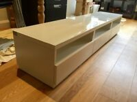White glass top TV bench with drawers