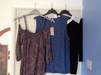 3 TOP BUNDLE Dark blue lacy top, off the shoulder brown patterned top, black with white collar top.