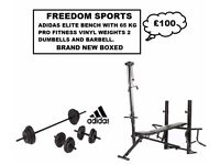 ADIDAS ELITE BENCH WITH 65KG BRAND NEW BOXED