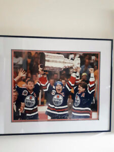 Oilers Greats Hoist 5th Stanley Cup Signed Framed Print