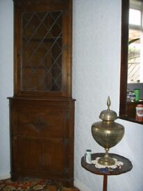Solid Oak Corner Cabinet Old Charm/Priory Style Leaded Glass Good Condition with Keys