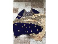 Designer velvet royal dark blue with gold work saree sari sabyasachi Indian pakistani maria b bridal
