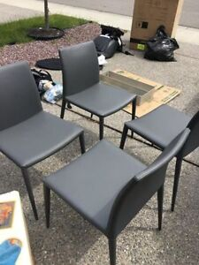 SET OF 4 GREY LEATHER CHAIRS