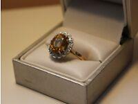 18ct Yellow Gold ring with Diamonds and Yellow Sapphire or Citrine main gemstone