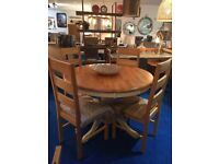 Cotswold Extending Wooden Buttermilk Dining Table & 4 chairs, Whole SET