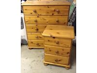 Pine bedside cabinet and chest of drawers