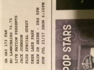 2 Jack Johnson concert tickets face value $153.50 total for both