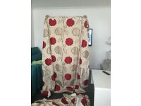 Red printed flowery curtains hardly used only £20