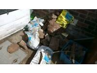 Free mixture of rubble and rockery stones