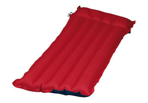 TWO VINTAGE RED & BLUE CANVAS AIR MATTRESSES