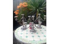 3 Silver plate candelabras