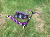 Grit Invader Scooter (Purple) with protective pads