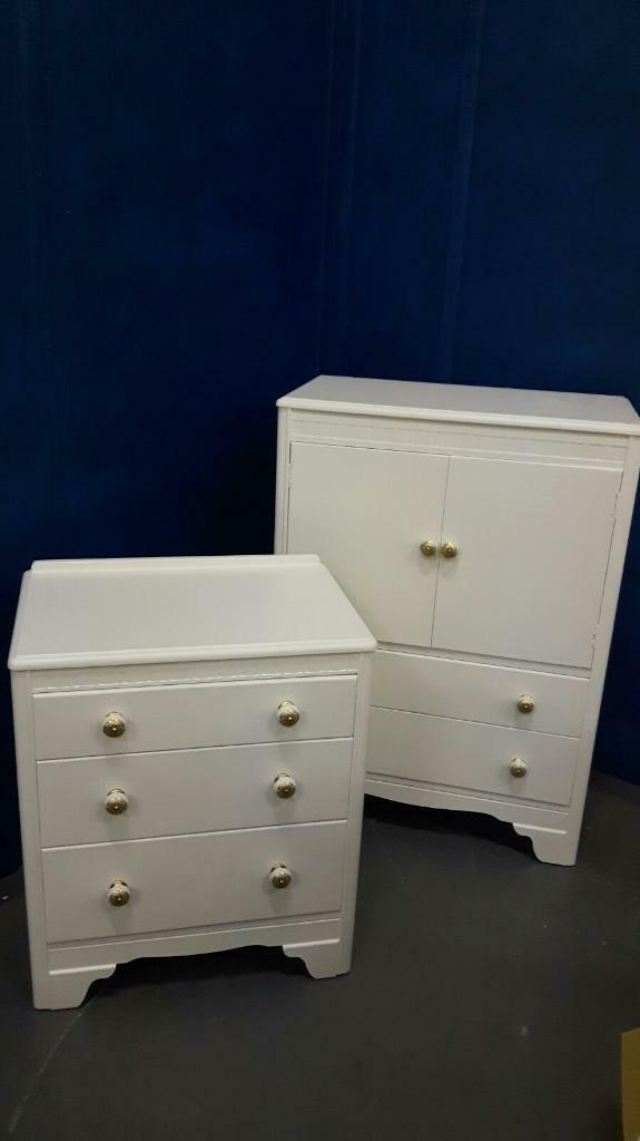 Vintage cupboard and matching chest of drawersin Cambridge, CambridgeshireGumtree - Vintage cupboard with matching chest of drawers hand painted with Farrow and Ball and finished with china handles