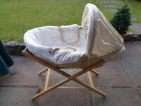 Baby Moses Basket with Wooden Stand, Mattress and Duvet