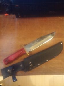 Large bowie knife and belt sheath