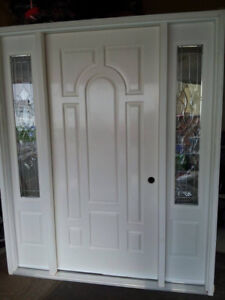 NEW FIBERGLAS MAIN ENTRY DOOR WITH PEWTER SIDE LITES!