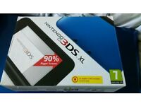 3DS XL metallic blue with games and case
