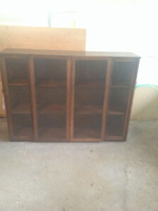 Solid Hardwood Bookcase/Display Cabinet with Glass Doors