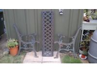 WROUGHT IRON SEAT ENDS AND BACK