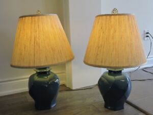 Set of Blue Ceramic Table Lamps