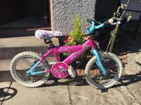 Pink rainbow 🌈 Raleigh bike for age 4-6. As new.