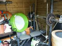 Half smith machine bench gym with weights