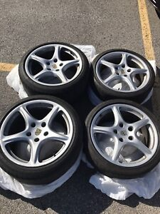 "PORSCHE 19"" MAGS 5X130 OEM WITH TIRES"
