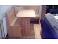 Pine Corner Dining Set with table and bench