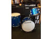 Vintage ludwig blue and olive drum kit in blue sparkle