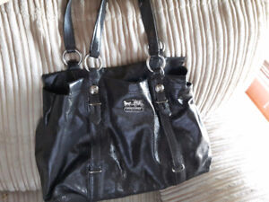 Coach Grey Patent Leather Madison Mia Shoulder Bag